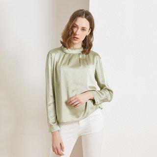 重磅真丝长袖T恤女2020春夏季新款OL百搭纯色气质桑蚕丝上衣