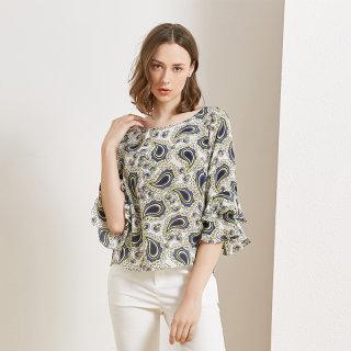重磅真丝T恤女2020春夏季羽毛印花时尚气质喇叭袖桑蚕丝上衣