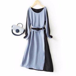 2020春女款简约时尚显瘦拼色撞色收腰女式连衣裙