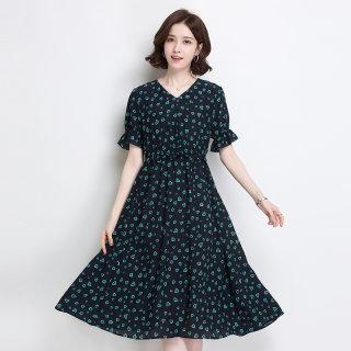 真丝连衣裙2020春夏新款v领气质复古印花宽松收腰短袖桑蚕丝裙子