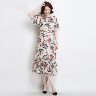 真丝连衣裙2020春夏新款宽松系带收腰气质圆领复古印花桑蚕丝裙子