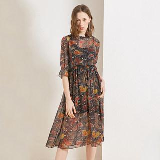女士真丝连衣裙2020春夏季新款时尚淑女气质印花桑蚕丝中长裙