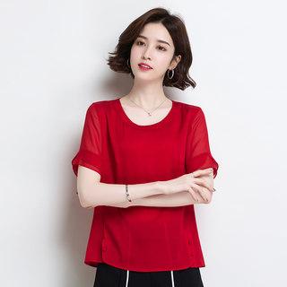 女士真丝短袖上衣2020春季时尚气质重磅宽松圆领桑蚕丝T恤