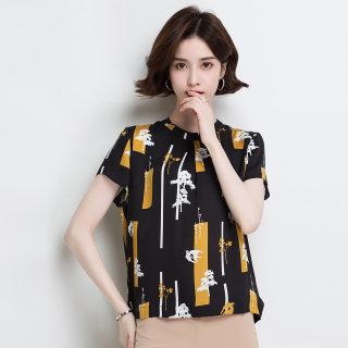 真丝衬衫女气质时尚2020春季新款青春宽松圆领洋气桑蚕丝T恤