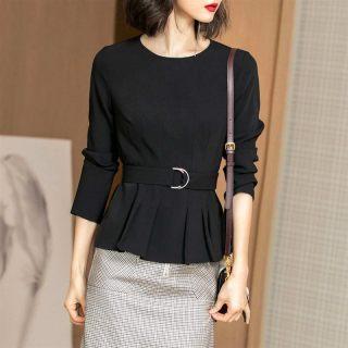 2020春装新款知性优雅收腰显瘦荷叶边黑色T恤女