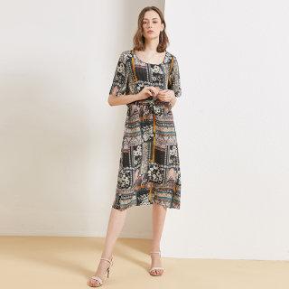 真丝连衣裙女2020春夏季时尚气质淑女宽松印花度假风中长裙