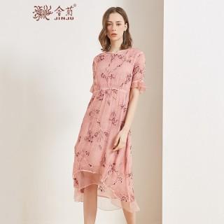 真丝连衣裙女2020春夏季新款宽松印花喇叭袖重磅桑蚕丝中长裙