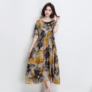 真丝连衣裙2020春夏新款气质宽松复古印花短袖中长款桑蚕丝裙子女