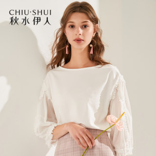 T恤2020夏装新款女装ins白色花边心机设计五分袖上衣女