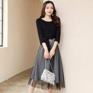 2020春新品女款撞色格纹网纱拼接系带收腰显瘦连衣裙