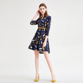 2020春季新款女装简约印花时尚INS风修身显瘦连衣裙