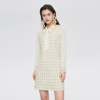 2020春季新品女装淑女风格纹外件系带领两件式连衣裙