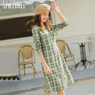 春夏装新款文艺娃娃领减龄单排扣格纹长袖连衣裙女