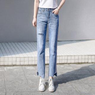 2020春装新款女韩版简约撞色拼接破洞休闲牛仔裤