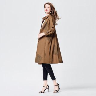 2020春装新款女长袖印花中长款单排扣风衣外套