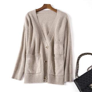 秋冬新款V领羊毛针织开衫女外搭宽松简约纯色毛衣长袖外套