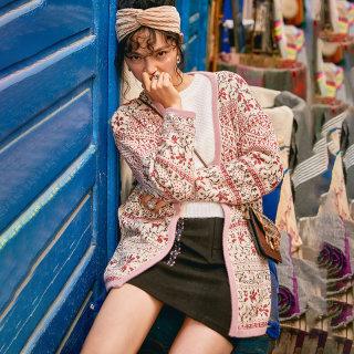 中长款针织开衫女2020冬季新款波西米亚风提花V领慵懒风外套