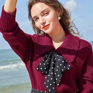 2020秋季新款网红娃娃领亮丝针织羊毛衫外套长袖毛衣开衫女