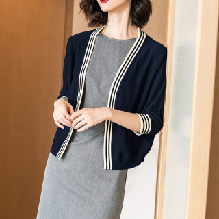 2020秋季新款气质针织衫拼接七分袖外套外搭针织开衫女
