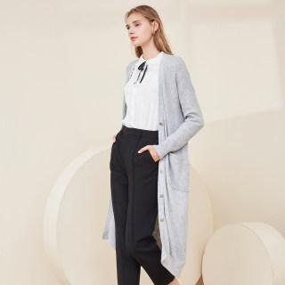 2020初秋冬季新款V领单排扣长款纯色针织衫长袖开衫薄外套女