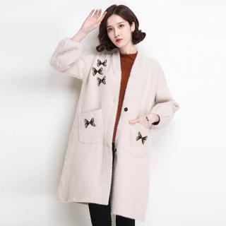仿水貂绒外套女中长款秋冬新款V领蝴蝶烫钻宽松加厚针织开衫大衣