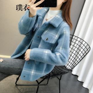 2020秋冬季新款 女韩版仿水貂绒方领宽松毛衣开衫长袖针织衫外套