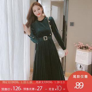 2020春季新款打底裙韩版中长款百褶金丝绒连衣裙配腰带