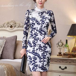 2020春装新款韩版裙子修身显瘦蕾丝长裙秋衣外穿秋款立领长袖女连衣