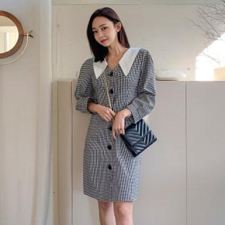 2020春装新款女装韩版高冷御姐风成熟气质格子V领连衣裙