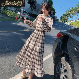 2020新款韩版气质淑女温柔风收腰长袖中长款格子连衣裙