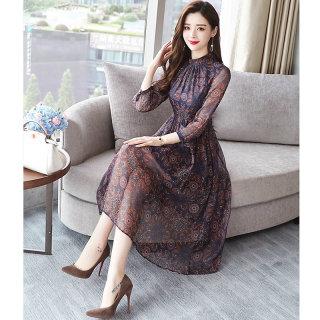 2020春装新款时尚韩版圆领长袖印花中长款连衣裙