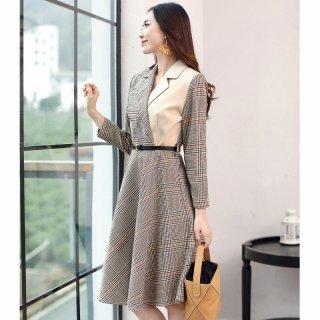 2020春新品女款韩版时尚气质百搭撞色拼接格子连衣裙