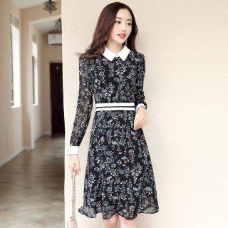 2020春新品女款韩版时尚气质修身百搭撞色碎花连衣裙