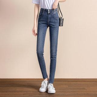 2020春季新款女韩版时尚简约修身显瘦长款牛仔裤