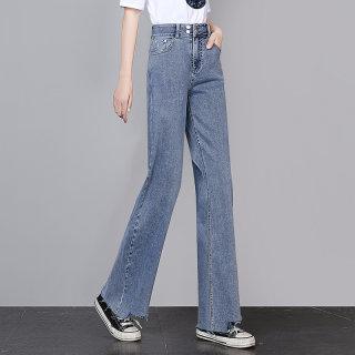 2020春装新款女时尚纯色简约宽松显瘦阔腿牛仔裤