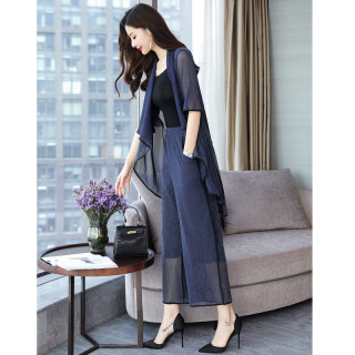 春装女2020新款韩版不规则下摆上衣搭阔腿裤套装