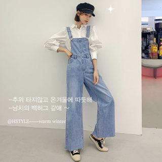 2020韩版女装春新款宽松学生阔腿背带长牛仔裤
