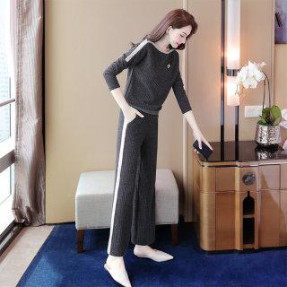 2020春装新款女韩版圆领长袖上衣搭休闲裤套装