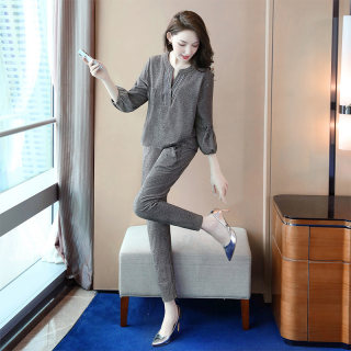 2020春装新款女韩版灯笼袖上衣搭收腰休闲裤套装