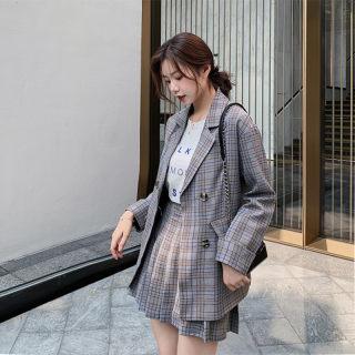 2020春季新品小西装套装女装新款韩版学生外套百褶裙西服裙裤两件套