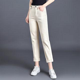 2020春装新款时尚简约高腰纯色双口袋休闲牛仔裤女