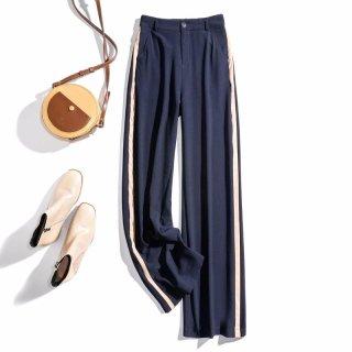 2020春女款简约时尚条纹高腰显瘦拼色女式休闲裤
