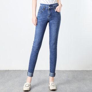2020春装新款简约高腰磨白修身卷边休闲牛仔裤女