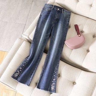 2020春简约时尚小脚裤脚装饰修身显瘦女式牛仔裤