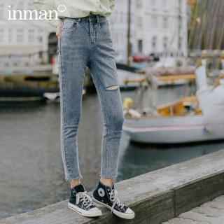 牛仔裤春秋个性高腰破洞紧身显瘦小脚裤铅笔裤子