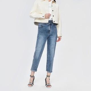 2020春季新品女装街头风不规则腰部顺色腰带高腰牛仔裤长裤