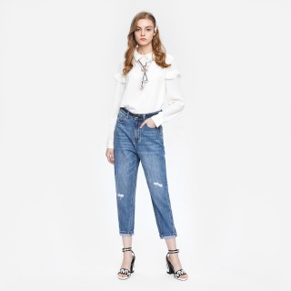 春季新品女装学院风裤身磨破牛仔裤长裤