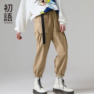 工装裤高腰显瘦运动哈伦束脚九分休闲裤女