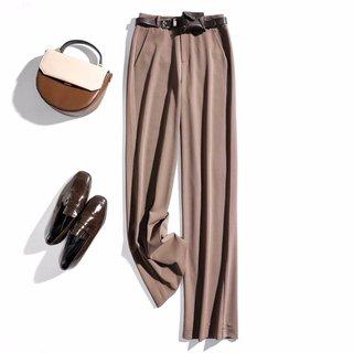2020春女款简约时尚腰带装饰长款直筒女式休闲裤