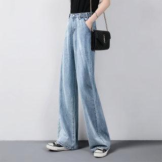 2020春新款女时尚泫雅老爹裤纯色简约阔腿牛仔裤
